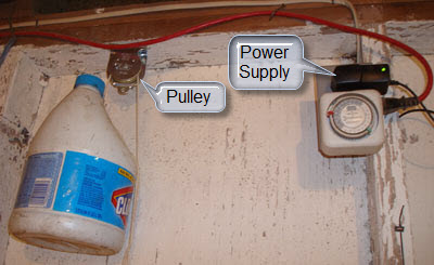 Counterweight and its pulley, 12V power supply